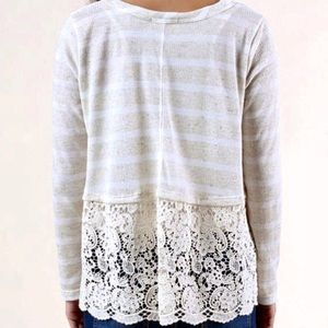 NWT Altar'd State Cream Striped Lace Swing Top M